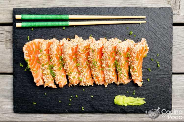Tataki de salmón.