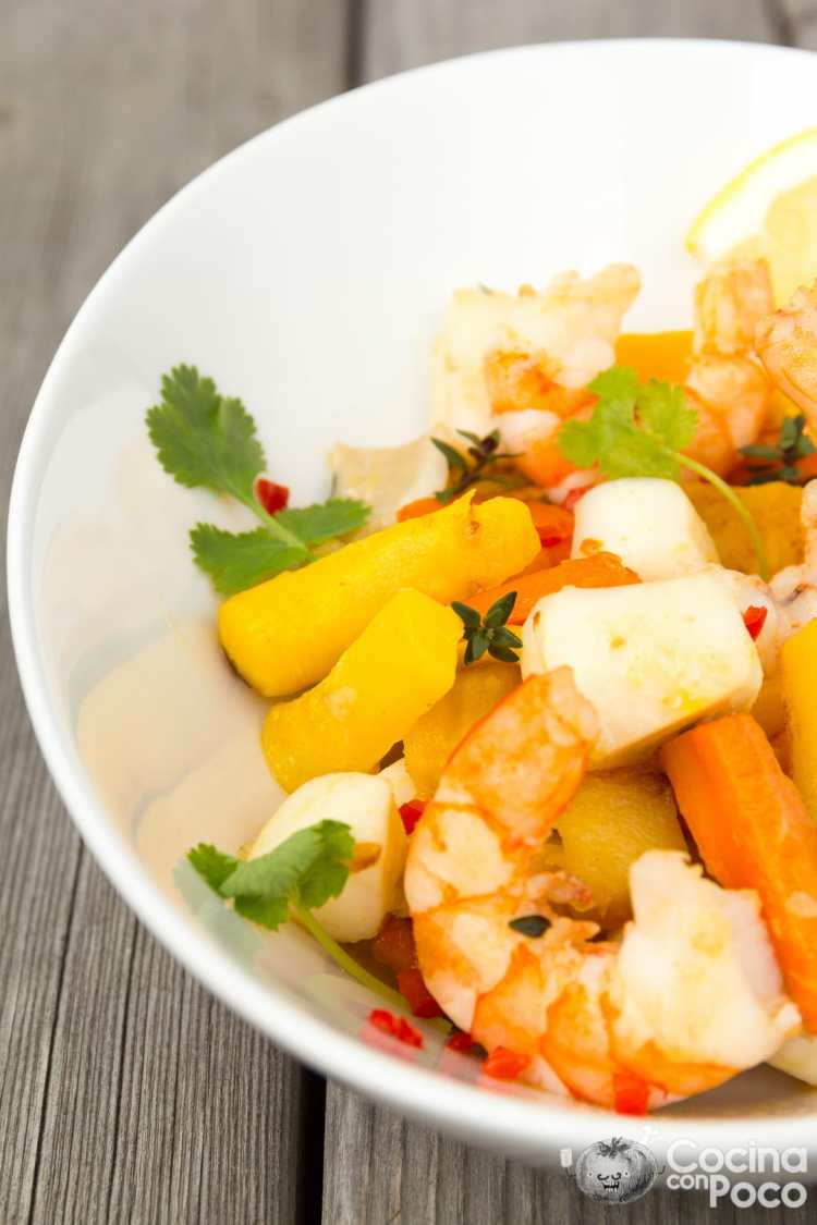 wok de verduras gambas y sepia receta