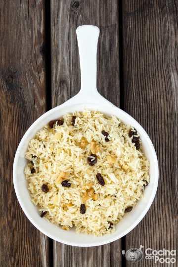 arroz basmati con pasas y nueces