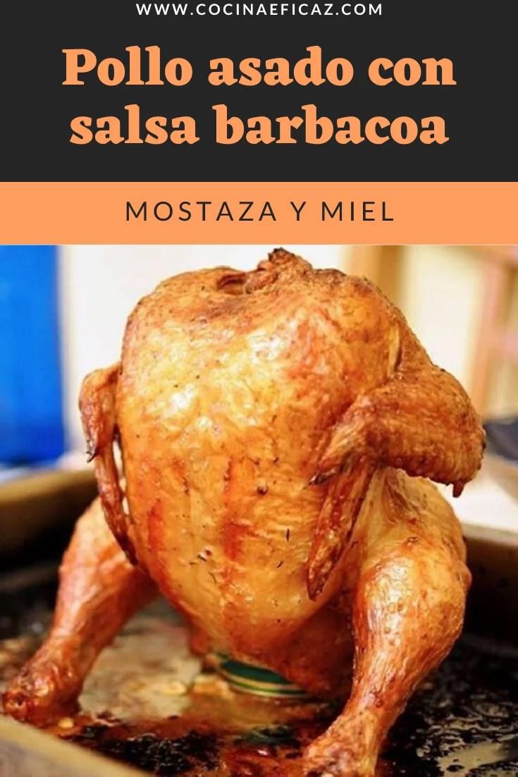 Pollo asado con salsa barbacoa, mostaza y miel