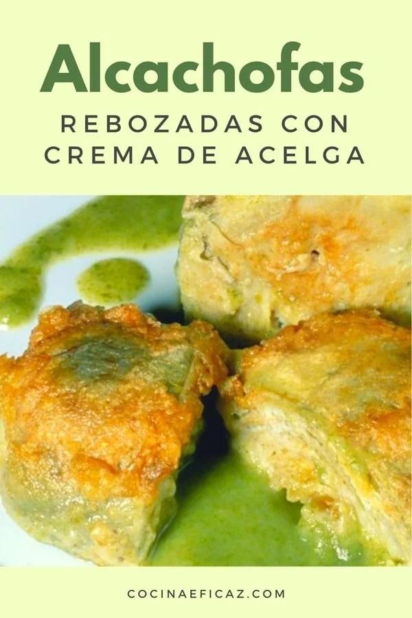 Alcachofas rebozadas con crema de acelgas