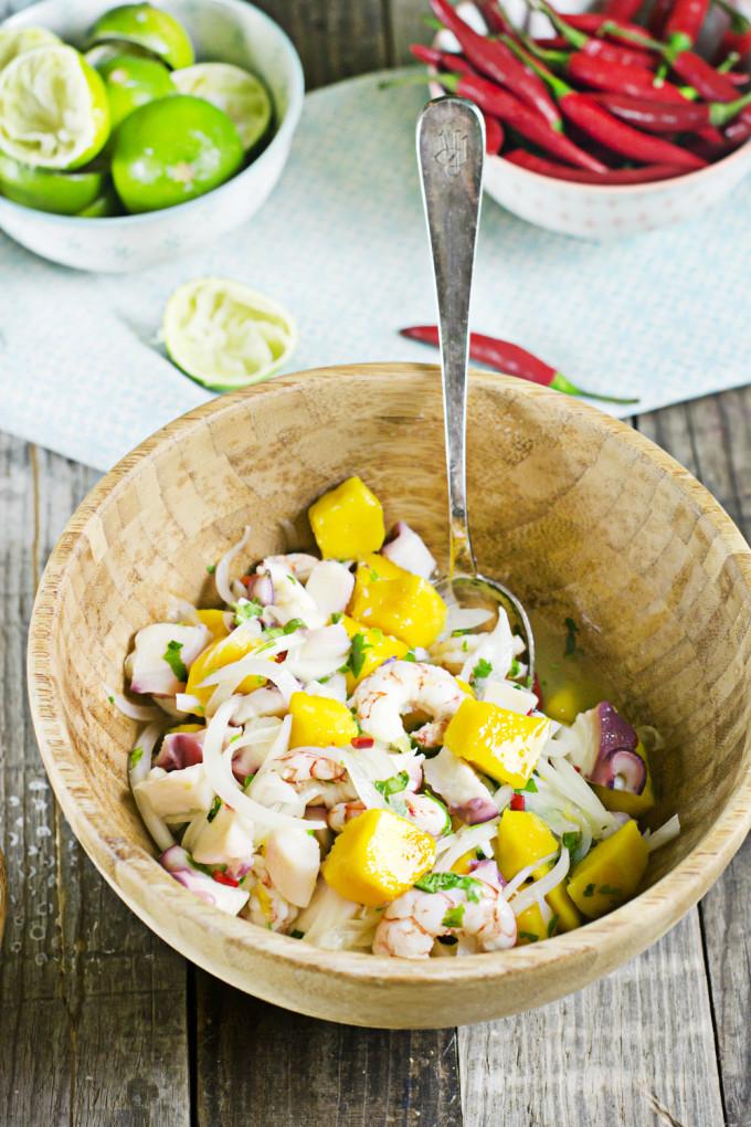 receta de ceviche de gambas pulpo y mango Buensima