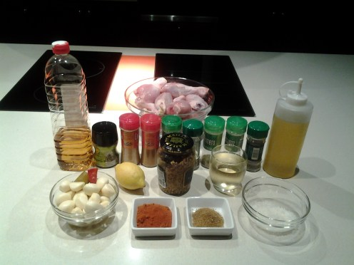muslos de pollo al horno con especias - ingredientes