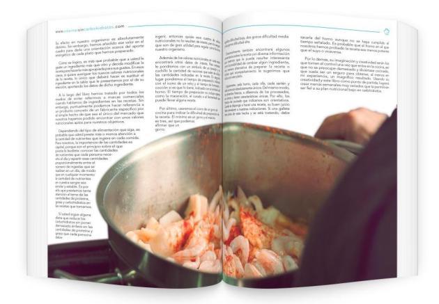 Detalle de los capítulos de texto del libro Cocinar sin Carbhidratos