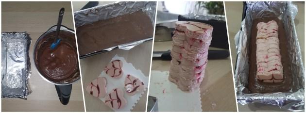 Montaje de la receta lowcarb de brownie relleno con cheesecake