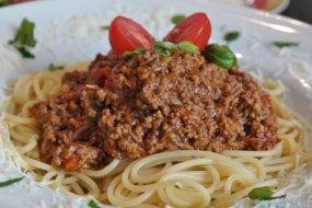 Boloñesa de Soja. Pasta con carne vegetal