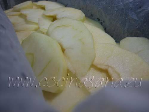 vierte la mitad de la masa, coloca encima las manzanas cortadas