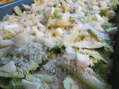 echa un chorrito de aceite de oliva virgen extra, el pan rallado, el queso rallado, y el queso para fundir en trozos