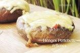 Hongos Portobellos rellenos de verduras y queso