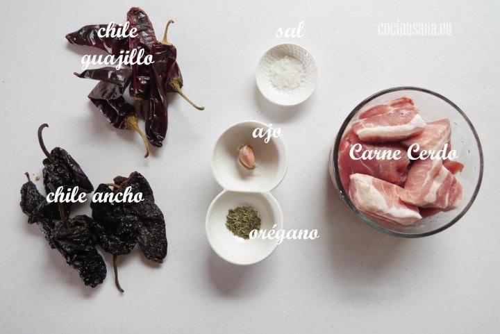 Ingredientes para la Carne de Puerco