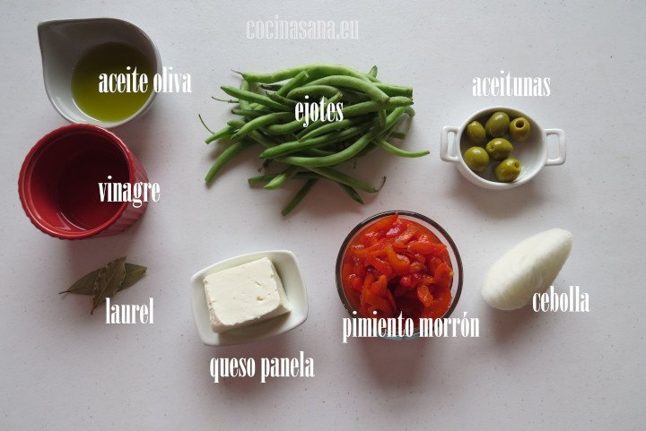 Ingredientes para la Ensalada de Ejotes o Judías Verdes con Pimiento