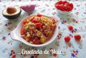 Ensalada de Maíz con Tomate Cherry. Receta de Ensalada fácil