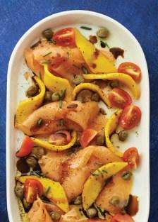 carpaccio de salmón y mango