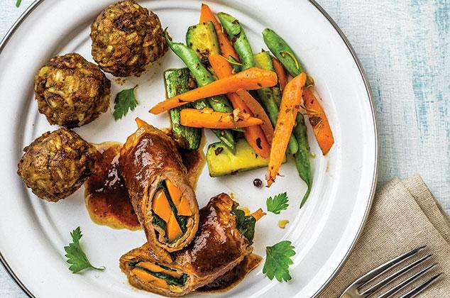 Receta de Rollos de bistec rellenos de verduras y