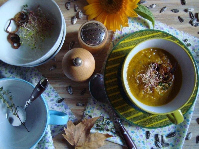 Sopa de zapallo y hongos     Cocina de otoño