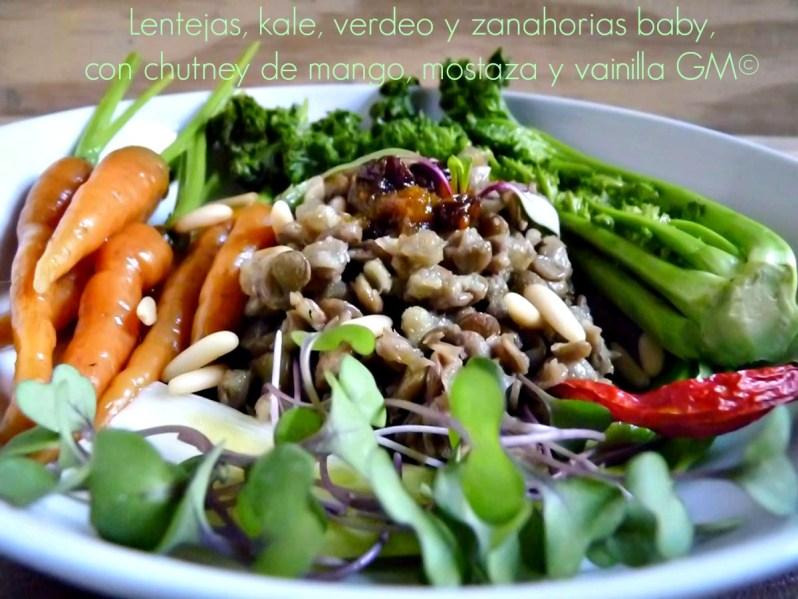 Lentejas, kale, verdeo y zanahorias baby, con chutney de mango, mostaza y vainilla GM©