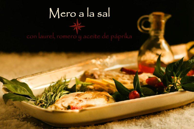 Mero a la sal, con laurel, romero y aceite de páprika