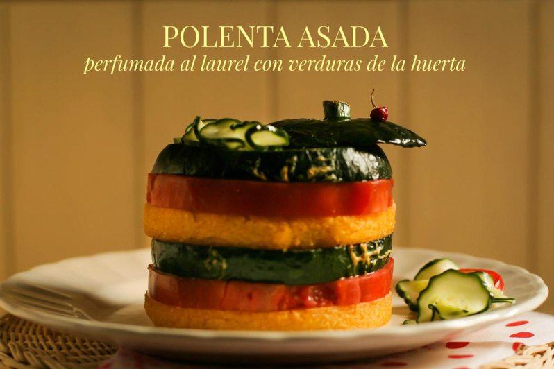 Polenta asada perfumada al laurel con verduras de la huerta + emulsión de hierbas y chile