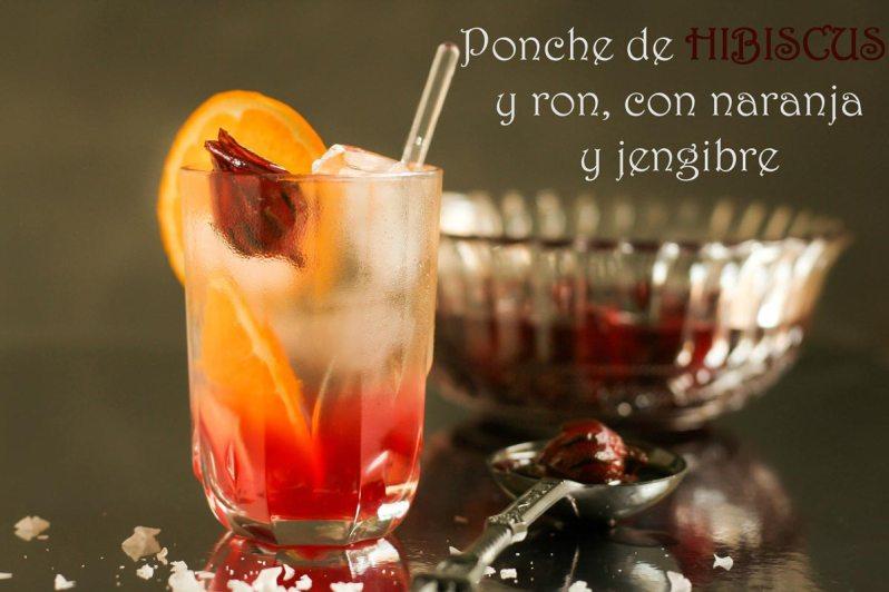 Ponche de Hibiscus y ron, con naranja y jengibre