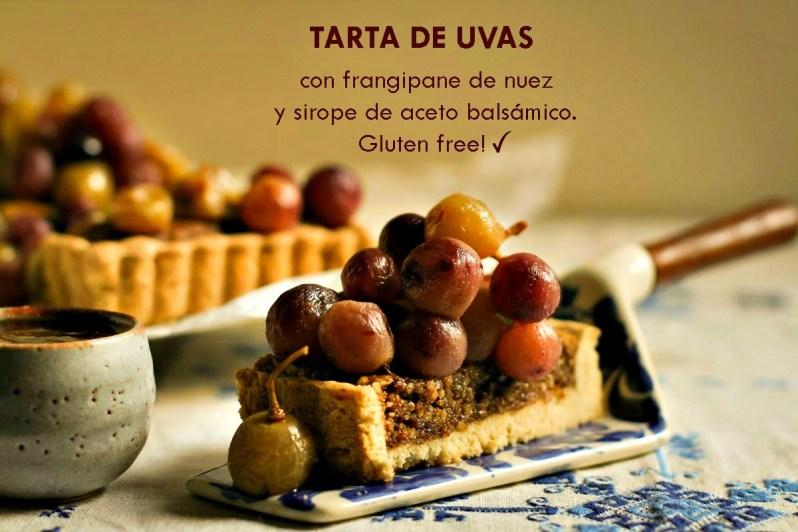 Tarta de uvas, con frangipane de nuez y sirope de aceto balsámico. Gluten free!