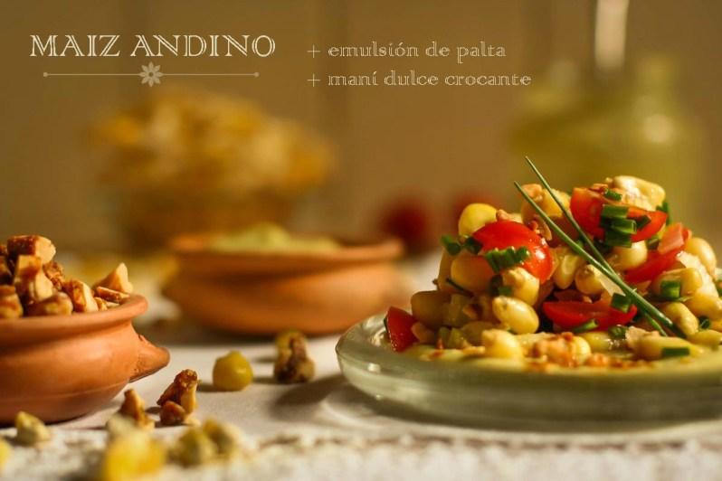 Maíz andino + emulsión de palta + maní dulce crocante