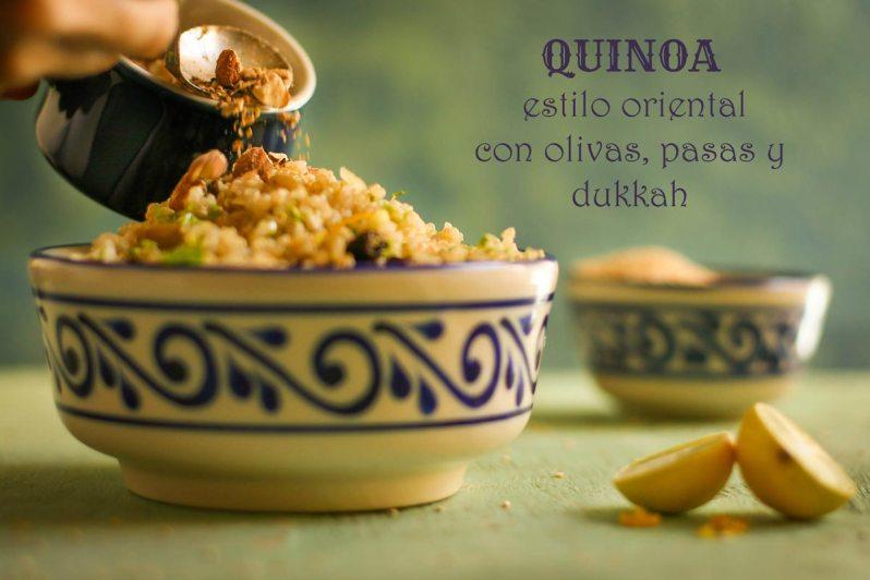 QUINOA estilo oriental, con olivas, pasas y dukkah
