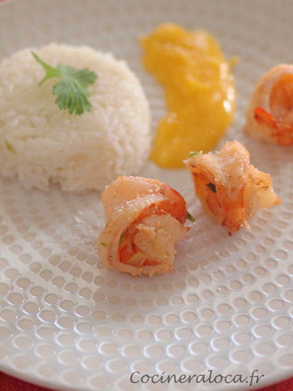 crevettes au garam masala et à la crème de mangue pimentée