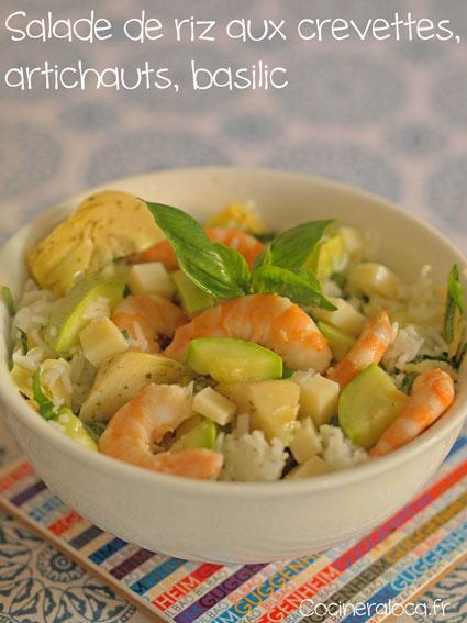 Salade de riz aux crevettes artichauts basilic ©cocineraloca.fr