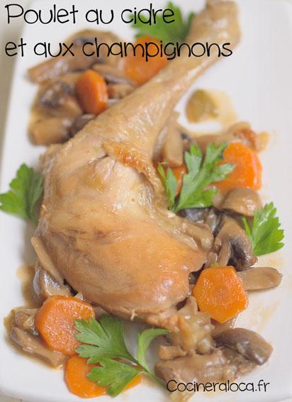 Poulet au cidre et aux champignons ©cocineraloca.fr