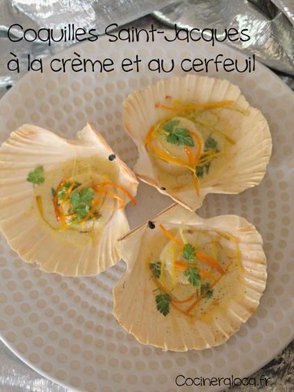 Coquilles Saint-Jacques à la crème et au cerfeuil ©cocineraloca.fr