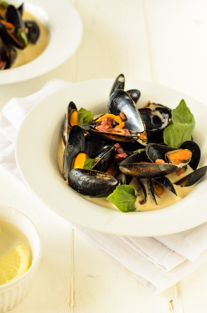 mussels with cider and speck