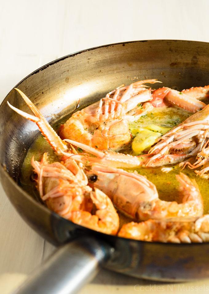dublin bay prawns in garlic and white wine