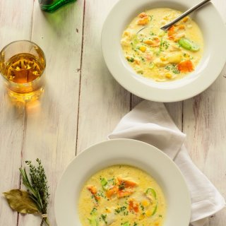 smoked cod and whiskey chowder