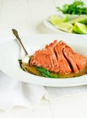 salmon poached in beetroot juice