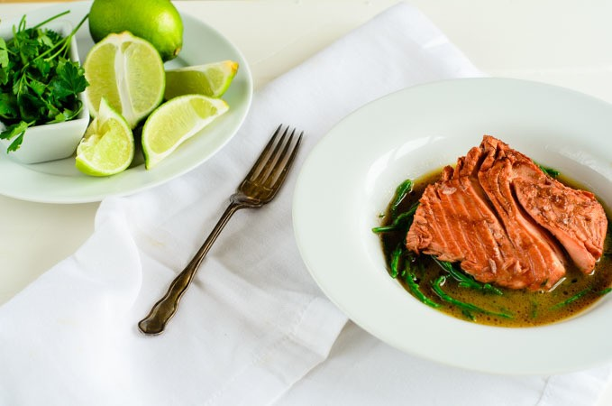 salmon with beetroot and samphire