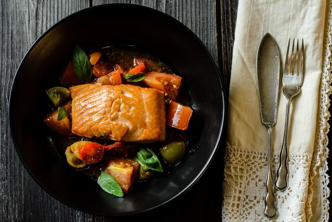 salmon with sauce vierge http://www.cocklesandmussels.com/