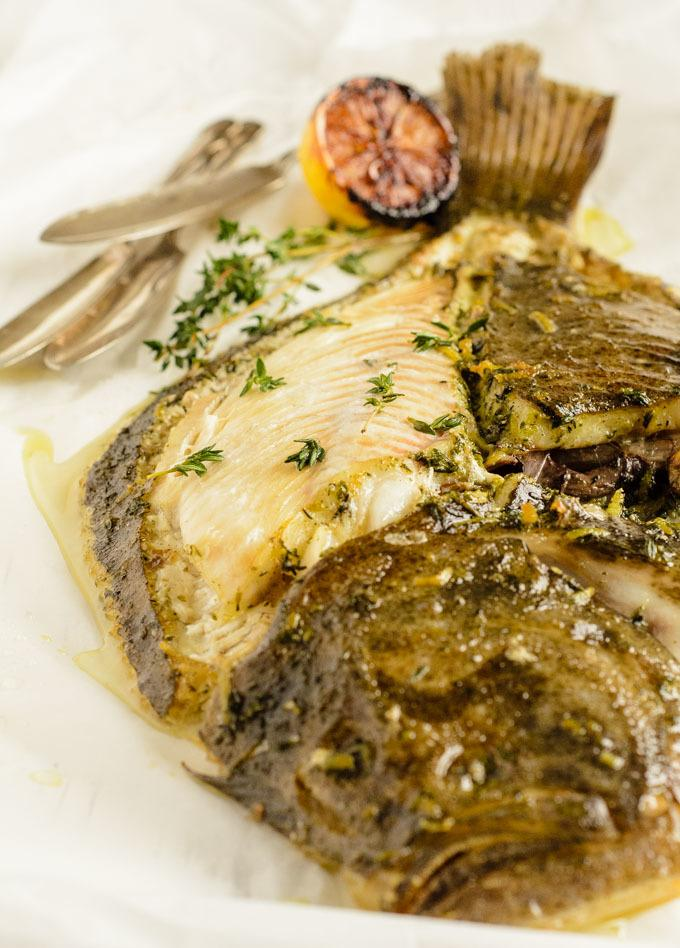 slow roast turbot