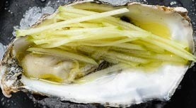 Oysters with apple and cider topping