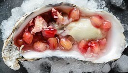 oysters with pomegranate topping