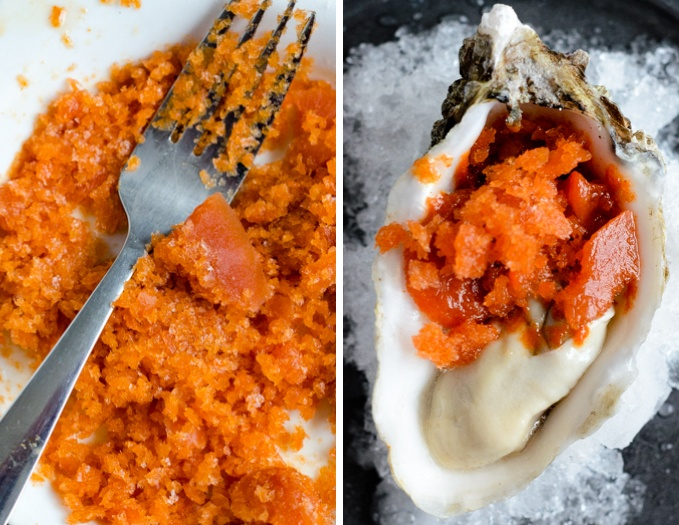 tabasco granita oyster toppings
