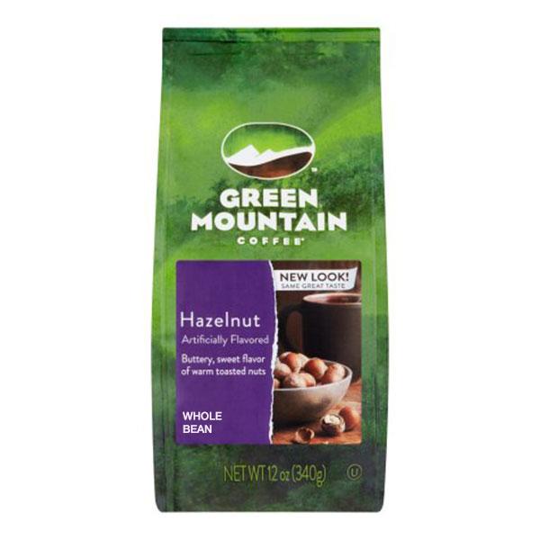 Green Mountain Hazelnut whole bean bagged coffee