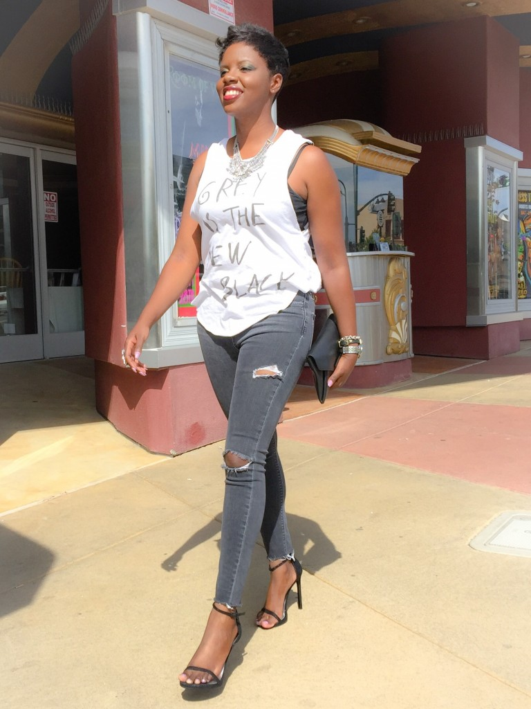 Grey Ripped Jeans Sandals Street Style
