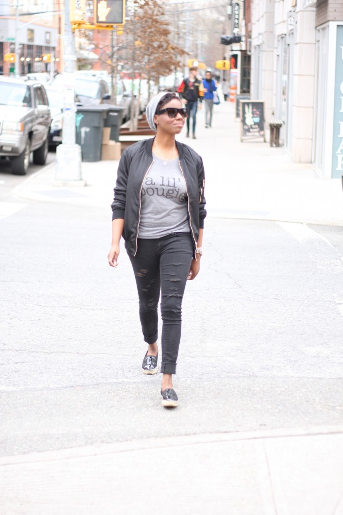 Off Duty Casual Bomber Jacket Graphic Tee Ripped Jeans Espadrilles NYC Style Blogger
