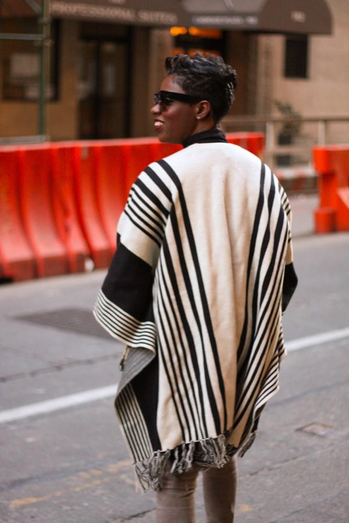 striped cape back detail