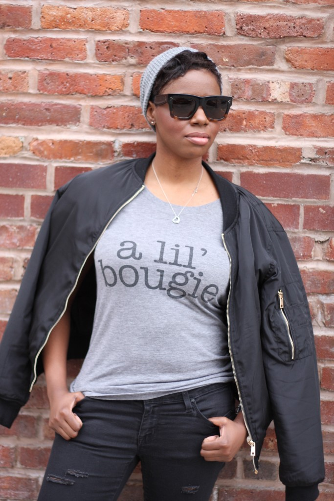 Off Duty Casual Style Bomber Jacket Graphic Tee Detail