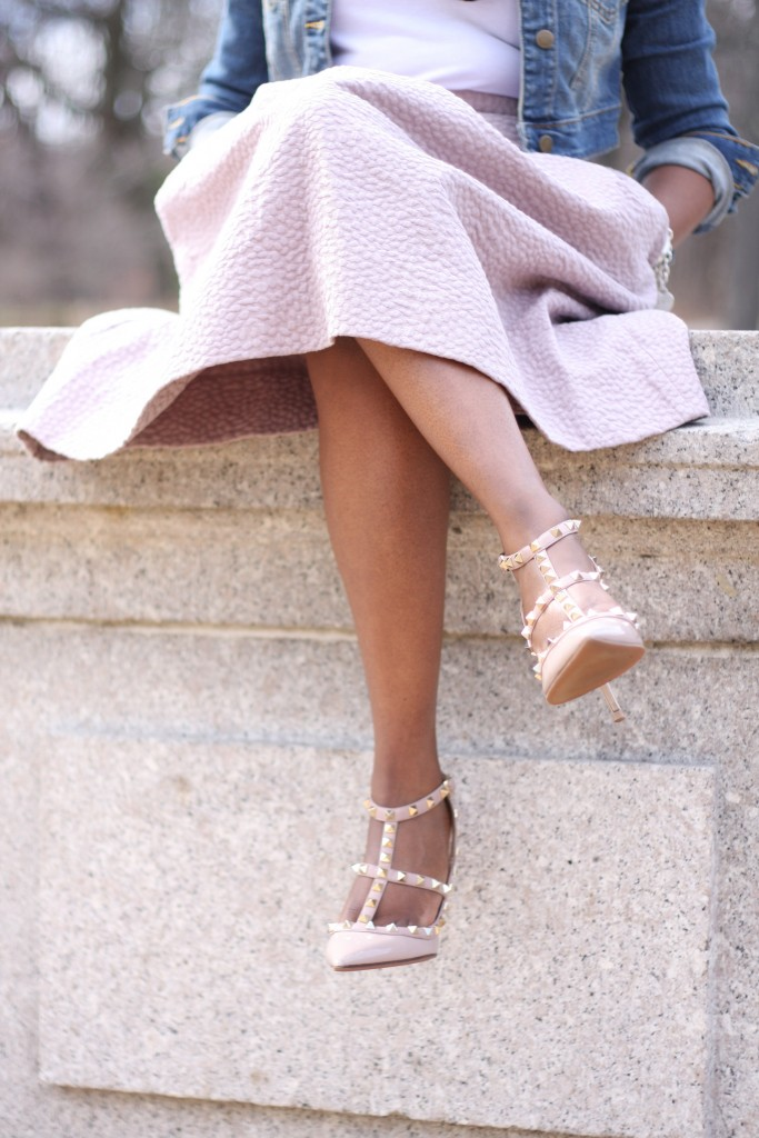 blush skirt rockstud pumps spring 2016
