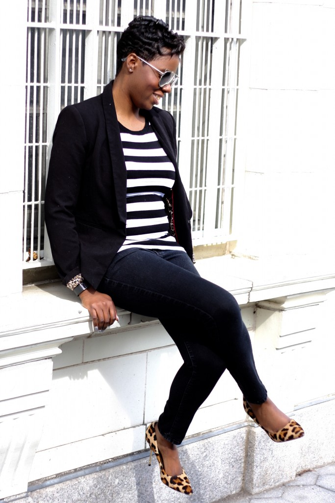 casual friday black blazer striped shirt black skinny jeans leopard pumps spring fashion