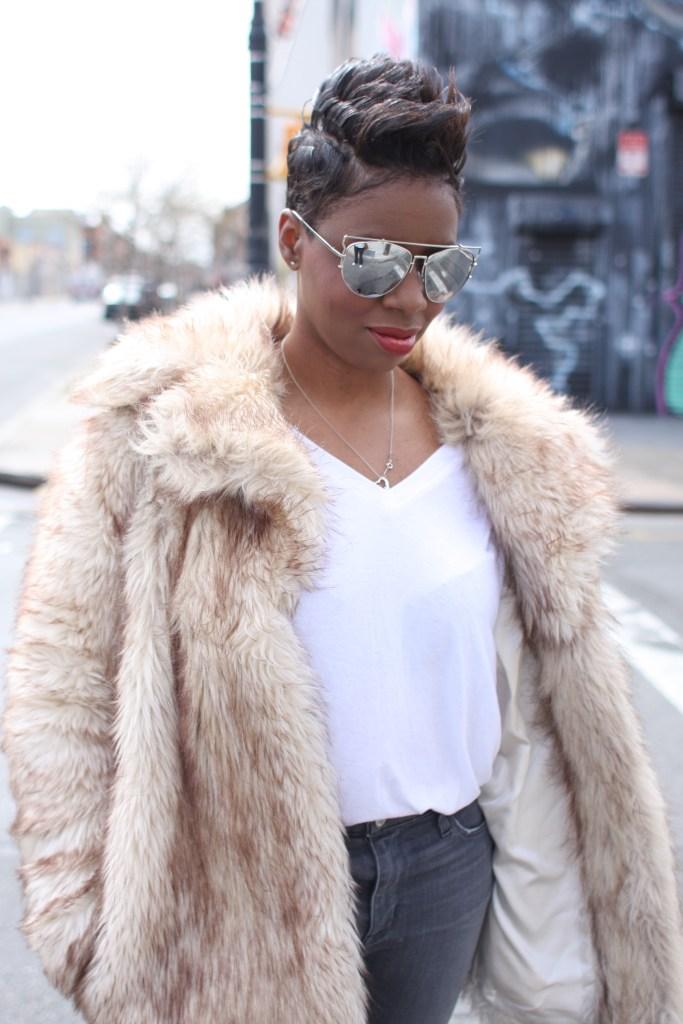 faux fur coat white top grey jeans mirrored sunglasses winter 2016 finale detail