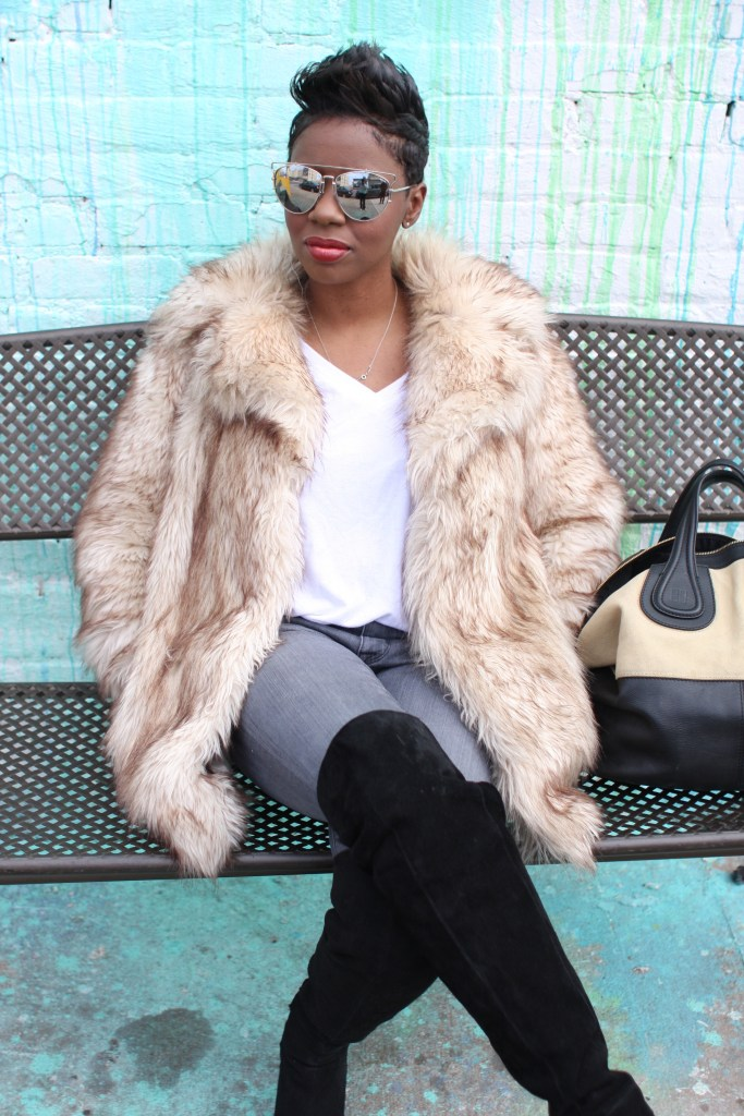 faux fur coat white top grey jeans black OTK boots mirrored sunglasses winter 2016 finale fashion