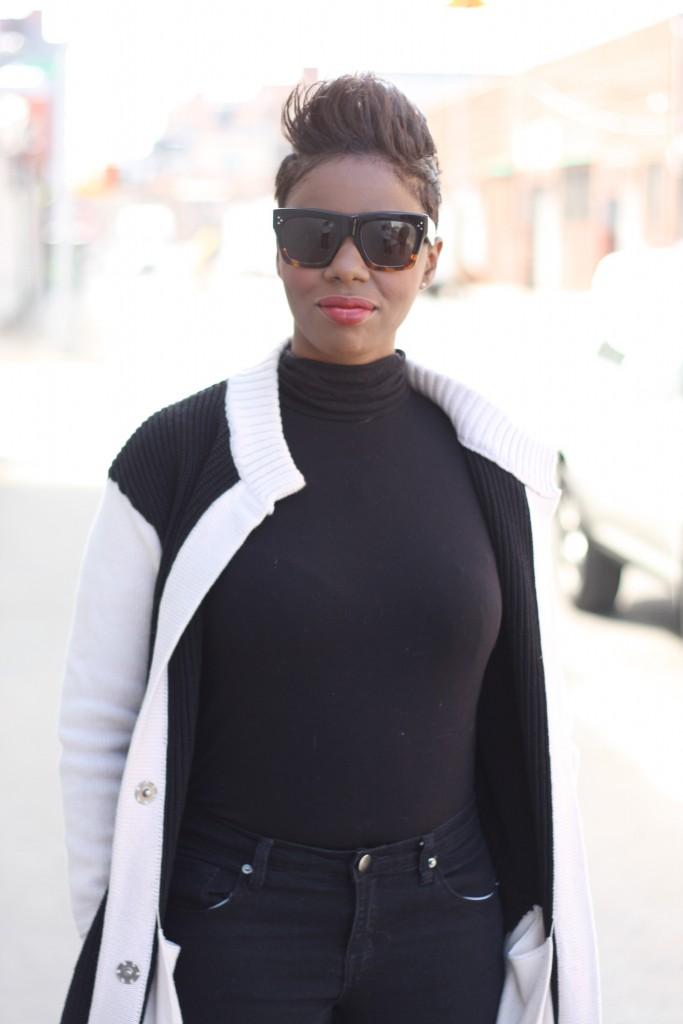 maxi cardigan black turtleneck black skinny jeans spring 2016 close up